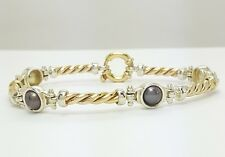 9ct (375,9K) Two Toned Yellow & White Gold Natural Black Pearl Bracelet
