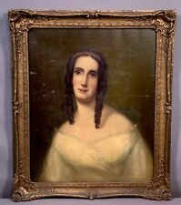 19thC Antique VICTORIAN Ringlet Curls LADY PORTRAIT Old VIRGINIA 1850's PAINTING