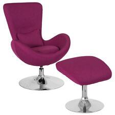 Contemporary Retro Style Magenta Fabric Egg Swivel Reception Chair With  Ottoman