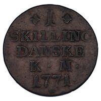 1771 Denmark 1 Skilling Coin In VF, KM# 616.1