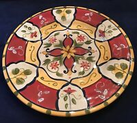Pier1 VALLARTA Hand-Painted Earthenware 6-Piece Dinnerware Plate Set EUC