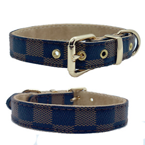NEW Designer Dog Collar Adjustable PU leather  S M L