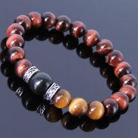 Healing Gemstone Bracelet Red Tiger Eye Brown Tiger Eye Obsidian Sterling Silver