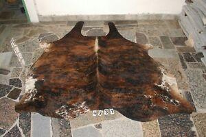EXOTIC BROWN-  Rug HAIR ON SKIN  Leather Cowhide Rug  4631-    76'' x  72''