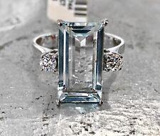 Wunderschöner Aquamarin Ring 585 Weißgold mit Diamanten 0,25 ct