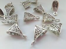 "10 Large Jewellery Bails 15mm (5/8"") Silver Tone Carved Hanging Necklace Bails"