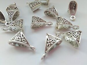 """10 Large Jewellery Bails 15mm (5/8"""") Silver Tone Carved Hanging Necklace Bails"""