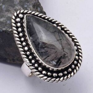 Black Rutile Ethnic Handmade Ring Jewelry US Size-5 AR 41098
