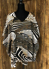 Chicos Animal Tiger Print Oversize Boxy Drape Blouse Top Sz Small / Medium