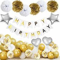 Happy Birthday Banner Balloons Decorations for Women Her Girl Men Gold Balloon