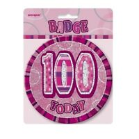 """Pink Glitz 100 Today 6"""" Giant 100th Birthday Badge Party Badges Decorations"""