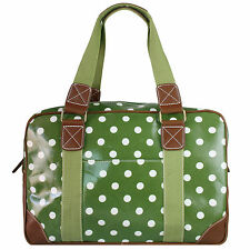 Ladies Green Polka Dot Oilcloth Handbag Messenger Cross Body Shoulder Bag