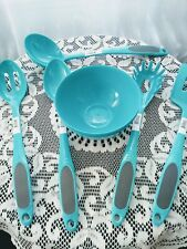 New listing 9 Piece Kitchen Utensil Set - Aqua Heavy Plastic Cooking Utensils