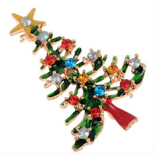 Brooch Enamel Gorgeous Rhinestone Crystal Christmas Tree Pin Holiday Party MW