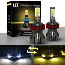 H8 H9 H11 White/Yellow COB Chips Super LED Fog Lights Dual Color 3000K / 6000K