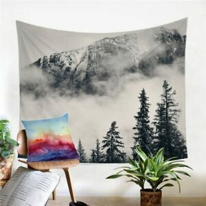 3D Fog Forest Nature Tree Wall Tapestry Hanging Throw Cover Home Room Decoration