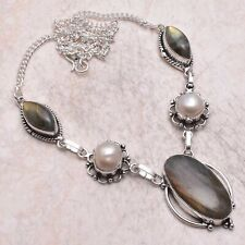Labradorite Pearl Ethnic Handmade Necklace Jewelry 28 Gms AN 60261
