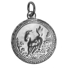 Sterling Silver 925 Zodiac Charm round Year of the Horse Very Detailed Jewelry