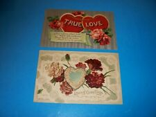 2 Antique Postcard  lot Valentine's Day True Love roses carnations
