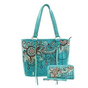 NWT MONTANA WEST/AMERICAN BLING TURQUOISE FLORAL EMBROIDER HANDBAG & WALLET SET!