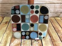 Peggy Karr Large Geometric Shape Serving Tray Fused Glass Signed, Retired! 11in
