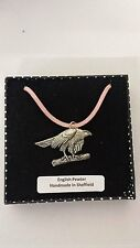 B2 Hawk Motif Pewter  PENDENT ON A PINK CORD Necklace Handmade