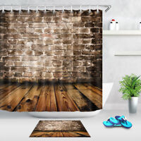 "Rustic Grunge Brick Wall and Wooden Floor Bathroom Fabric Shower Curtain Set 72"""