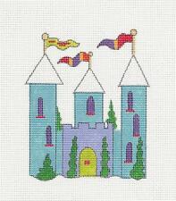 LITTLE GIRL'S Fairy Tale Princess Blue CASTLE HP Needlepoint Canvas by B.Bailey