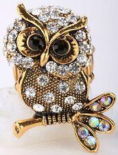 Gold Clear Owl Stretch Ring Crystal Rhinestone Fashion Animal Jewelry Gift RA08