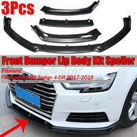 For Audi A4 B9 Sedan 2017 2018 3PC Carbon Fiber Look Front Bumper Lip  */!