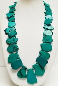 """NWT LUCORAL Deep Turquoise / Aqua Blue Slab Sterling Silver Long Necklace 32"""""""