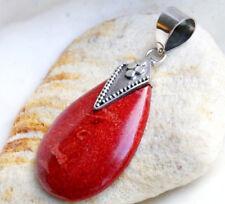 Anhänger Silber 4,3cm Koralle Rot Orange Tropfen Verspielt Raute Kettenanhänger