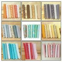 7Pcs Colourful DIY 100% Cotton Fabric Assorted Pre-Cut Fat Quarters Bundle UK