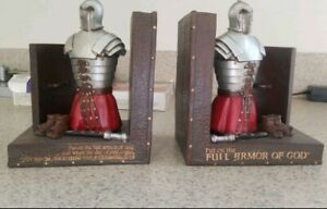 Set of (2) DICKSONS Medieval Knights Bookends Resin Castle Full Armor of God C5
