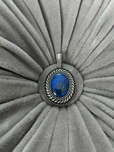 "RELIOS C POLLACK Large Lapis Lazuli Pendant, 925 Sterling, 1.78"" Oval, Enhancer"