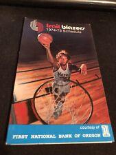 1974-75 Portland Trailblazers Basketball Pocket Schedule Bill Walton