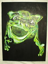 Canvas Painting Boglin Speckled Green Art 16x12 inch Acrylic