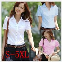 Top Blouse T-shirts Lady Summer Chiffon Office Loose Ladies Blouses Stylish