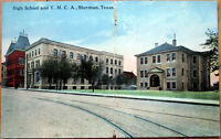 1910 Postcard: High School & Y. M. C. A. - Sherman, Texas TX