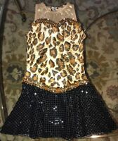 A Wish Come True Girls Medium Child Jazz Dance Costume Pageant Animal Print Gold