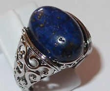 8.3ct Lapis Lazuli solitaire ring, silver plated, Size R, 7.60g.