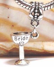 3D Bride Wine Glass_Bead for European Charm Bracelet_Wedding Champagne Flute_O6