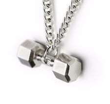 DUMBBELL NECKLACE pendant SILVER 925 pendant chain fitness jewelry gym CROSSFIT
