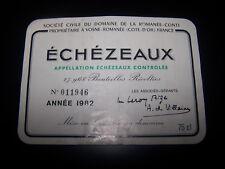 etiquette vin Echezeaux 1982 Romanée conti wine label wein etikett DRC