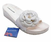 WOMENS WHITE DUNLOP SLIP-ON PEEP-TOE MULES WEDGE SLIDER SANDALS SHOES UK 4-8