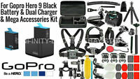 Genuine GoPro Hero 9 BLACK Dual Battery Charger  + Deluxe Accessories Bundle Kit