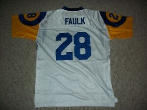 MARSHALL FAULK Unsigned Custom St. Louis White Sewn New Football Jersey Sz S-3XL
