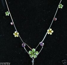 Necklace Green Yellow Sparkle CZ Plumeria Hibiscus Flower Chain Hawaii Hawaiian