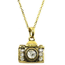 "Gold Color Camera 3D Pendant with White Crystals & 16"" Chain"