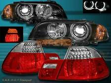 00-03 BMW E46 2DR HALO PROJECTOR HEADLIGHTS BLK +CORNER+RED CLR LED TAIL LIGHTS